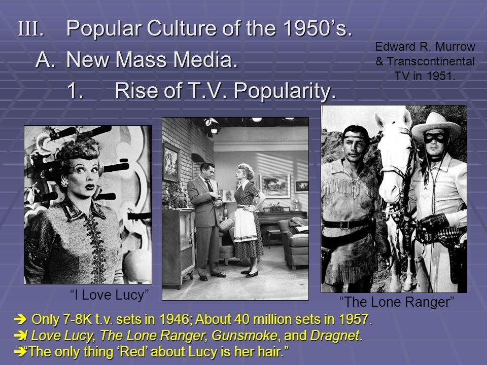 III. Popular Culture of the 1950's. A. New Mass Media.