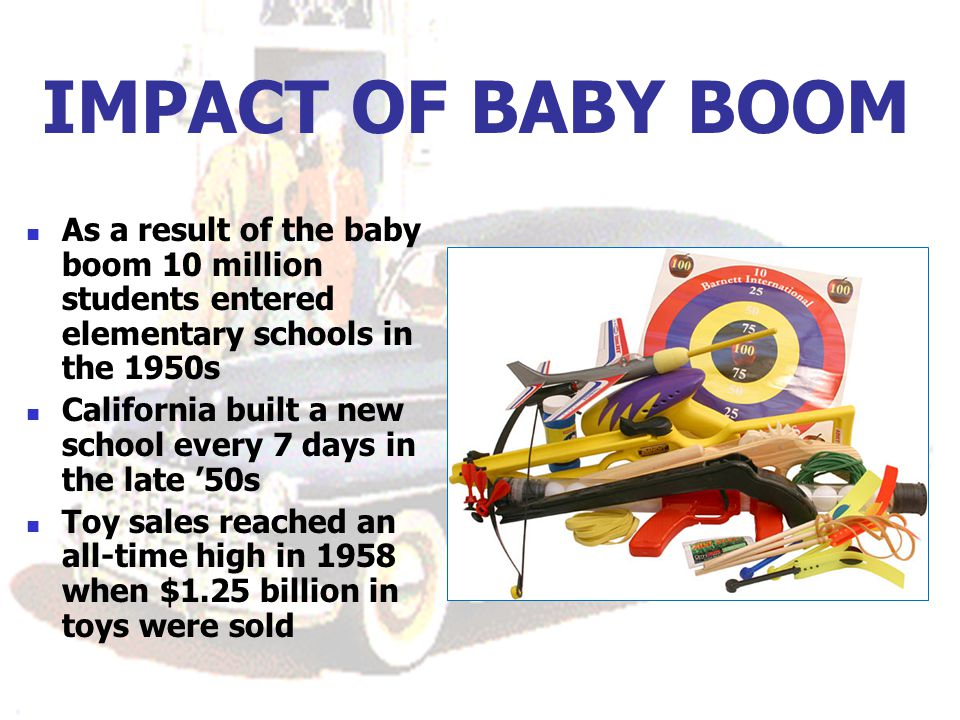 IMPACT OF BABY BOOM As a result of the baby boom 10 million students entered elementary schools in the 1950s.