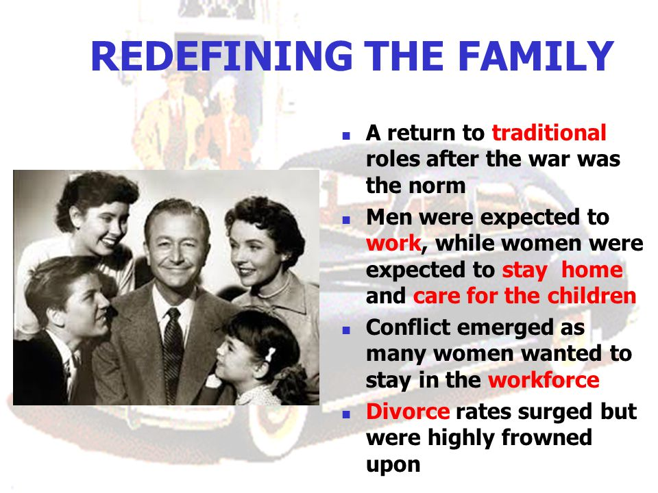 REDEFINING THE FAMILY A return to traditional roles after the war was the norm.
