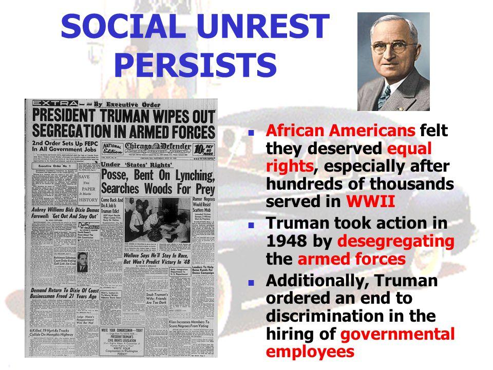 SOCIAL UNREST PERSISTS