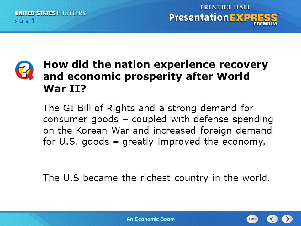 How did the nation experience recovery and economic prosperity after World War II