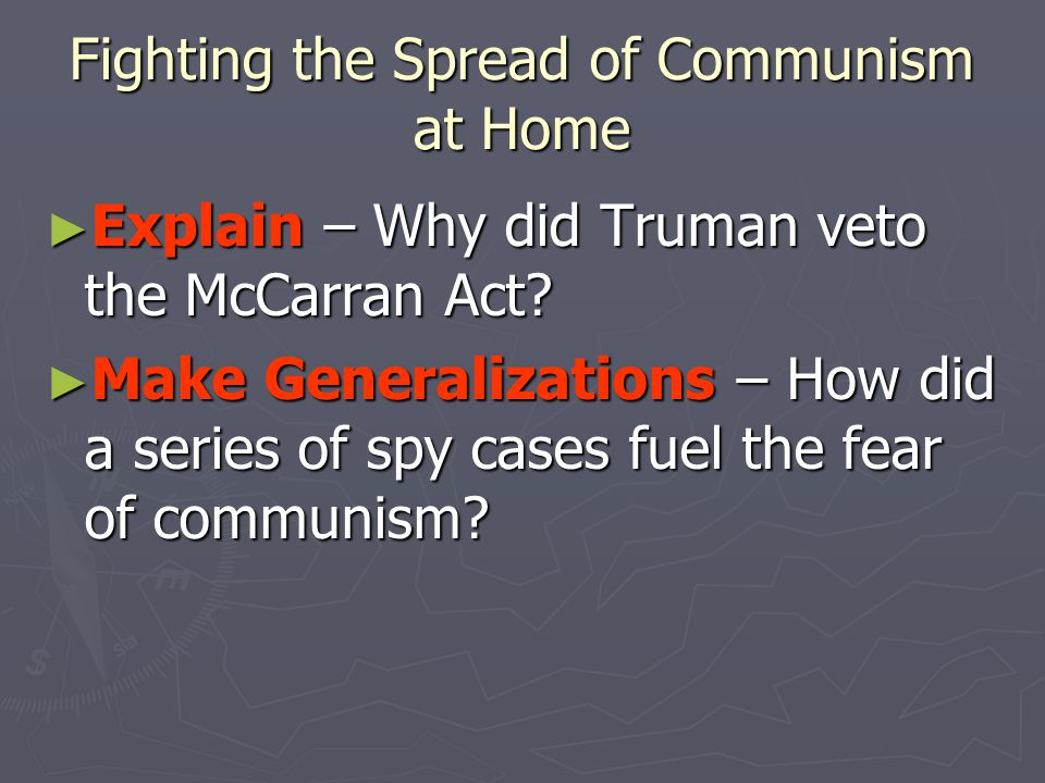 Fighting the Spread of Communism at Home