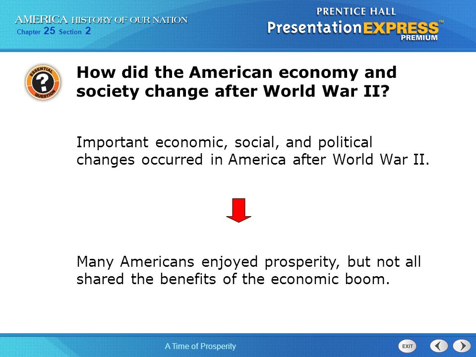 How did the American economy and society change after World War II