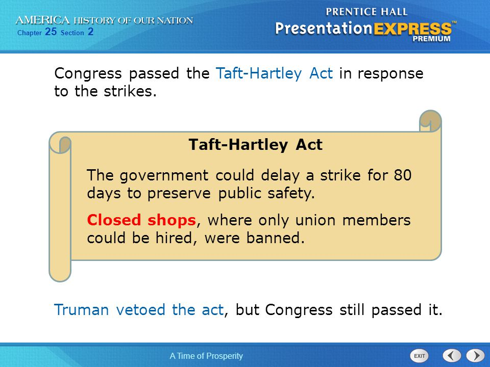 Congress passed the Taft-Hartley Act in response to the strikes.
