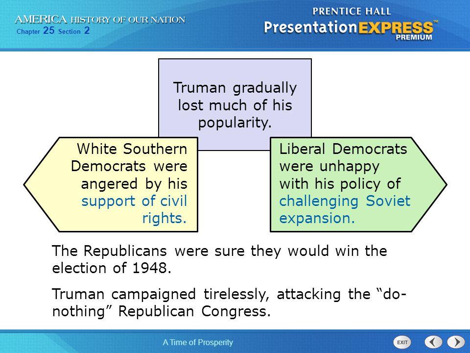 Truman gradually lost much of his popularity.