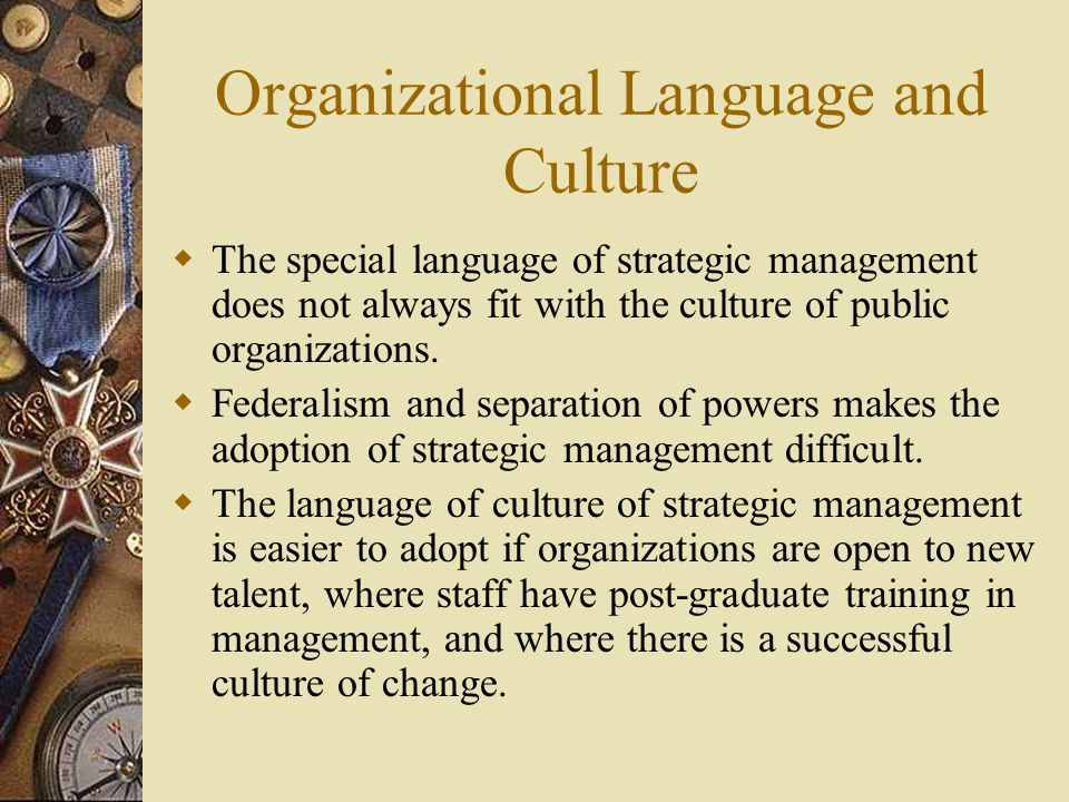 Organizational Language and Culture