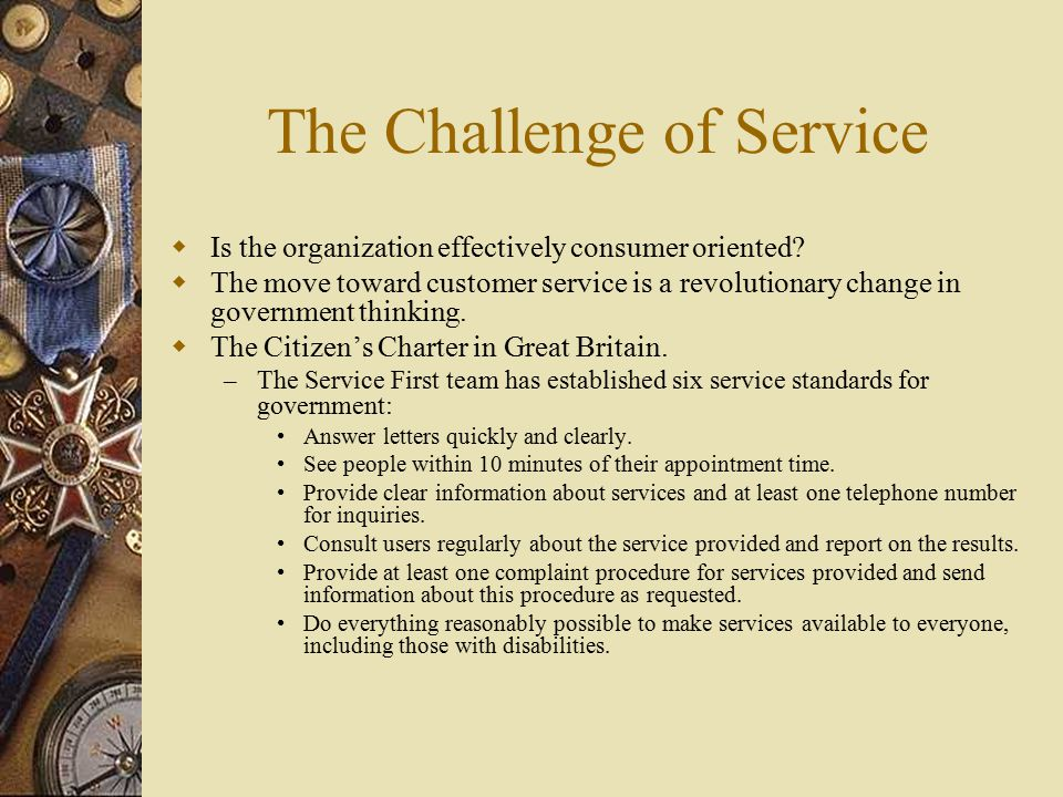 The Challenge of Service