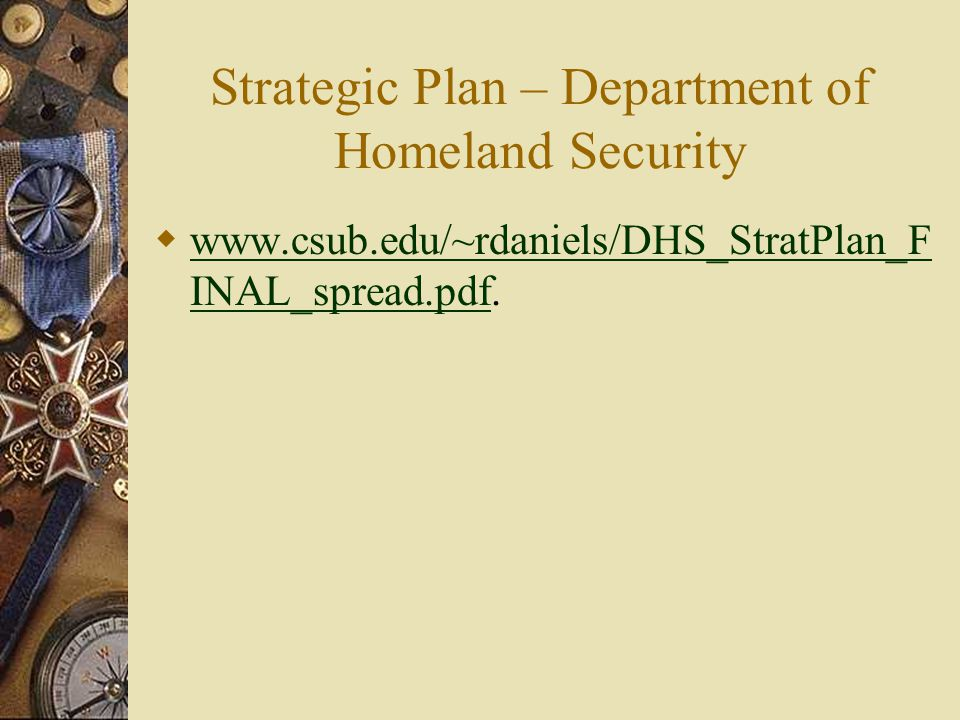 Strategic Plan – Department of Homeland Security