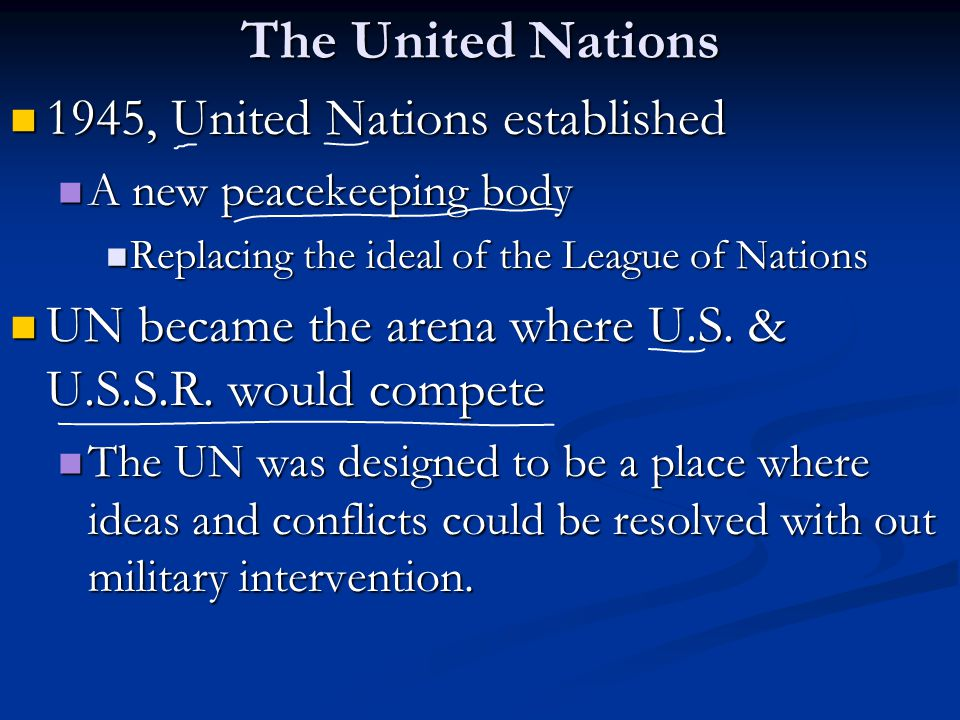 The United Nations 1945, United Nations established