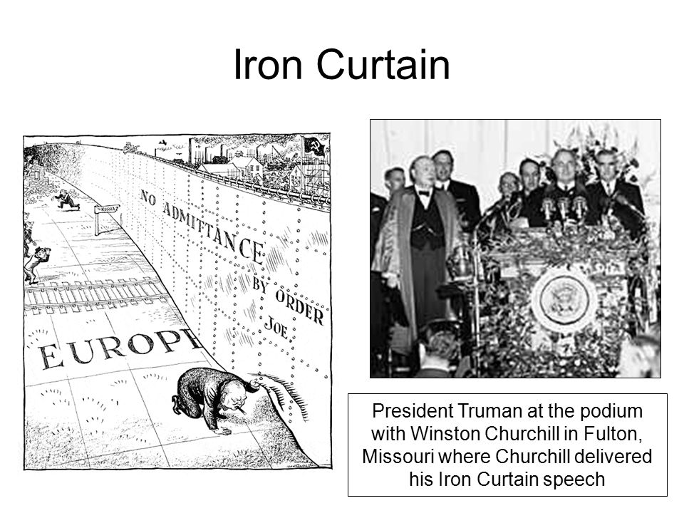 Iron Curtain President Truman at the podium with Winston Churchill in Fulton, Missouri where Churchill delivered his Iron Curtain speech.