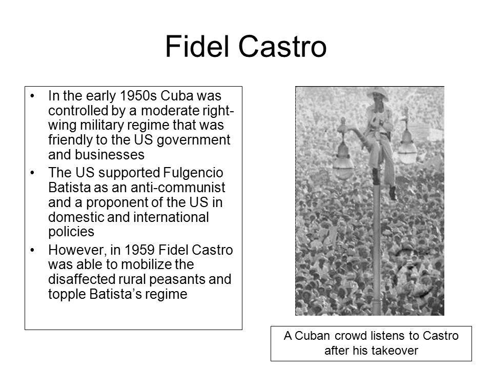 A Cuban crowd listens to Castro after his takeover