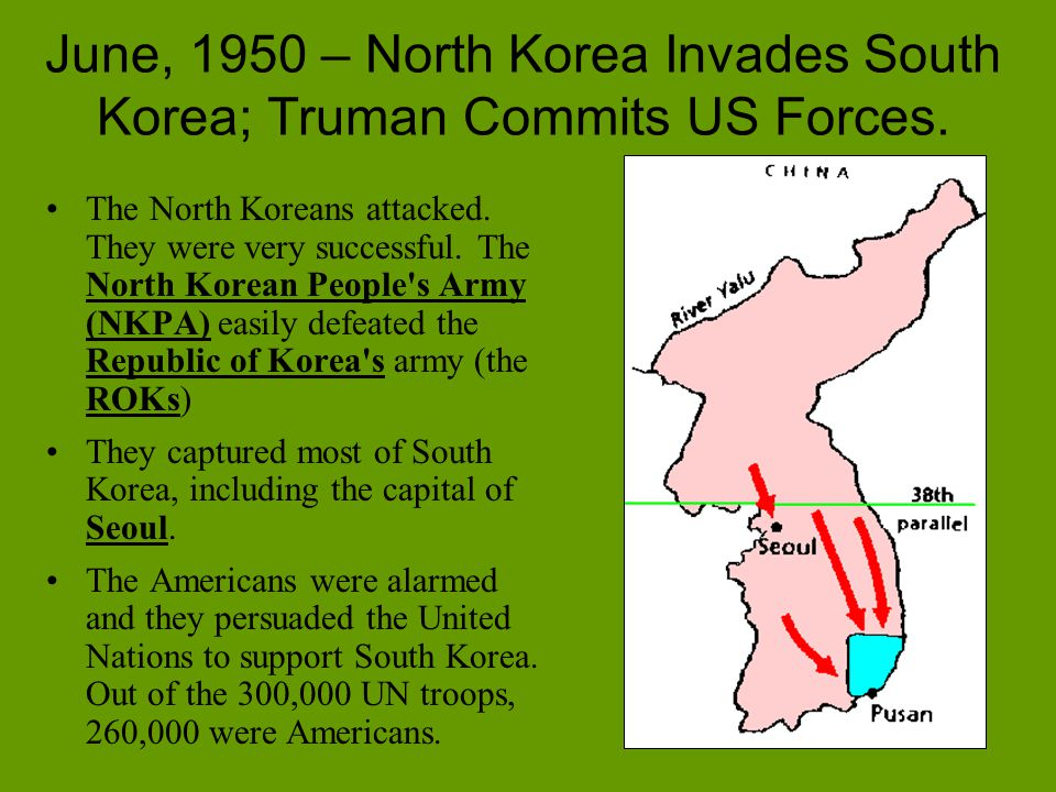June, 1950 – North Korea Invades South Korea; Truman Commits US Forces.