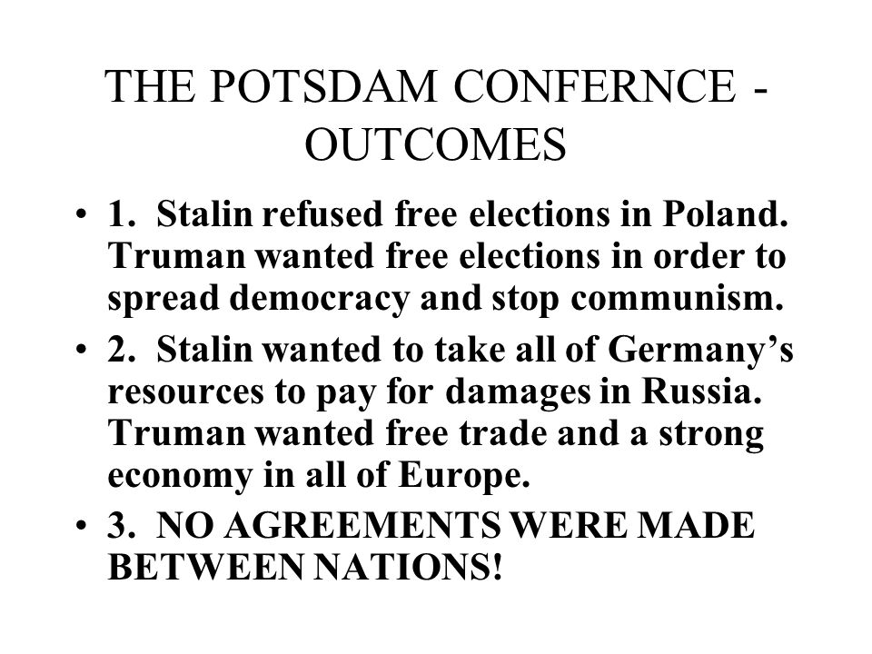 THE POTSDAM CONFERNCE - OUTCOMES