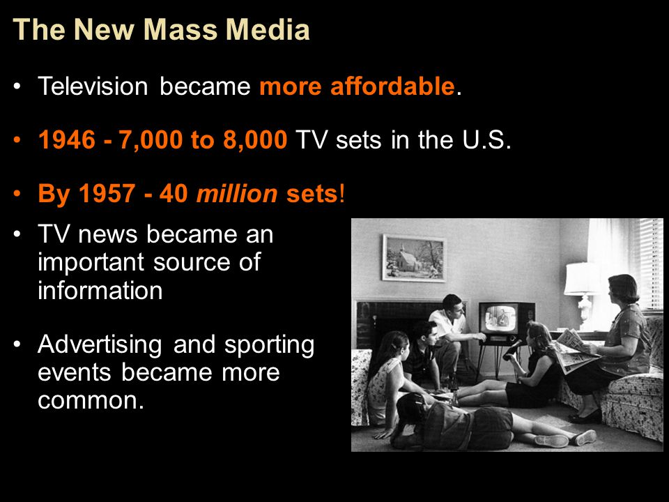 The New Mass Media Television became more affordable.