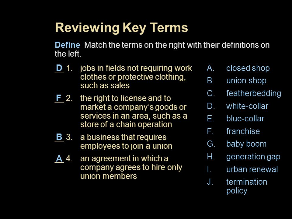 Reviewing Key Terms D F B A
