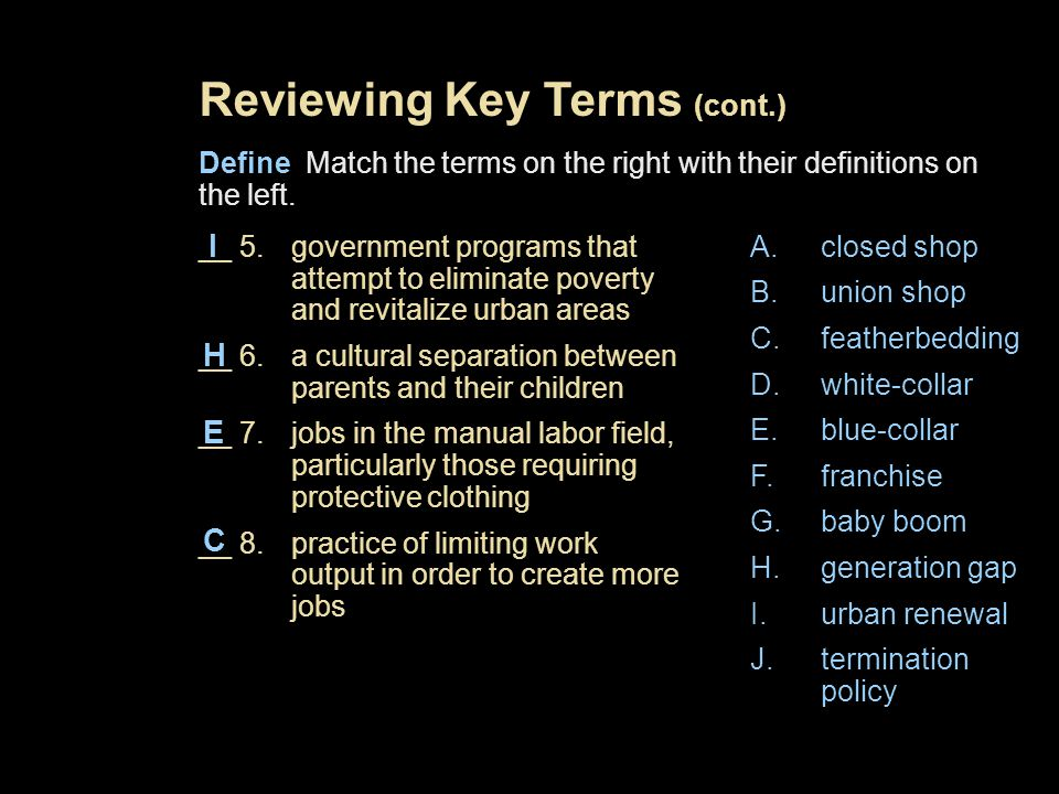 Reviewing Key Terms (cont.)