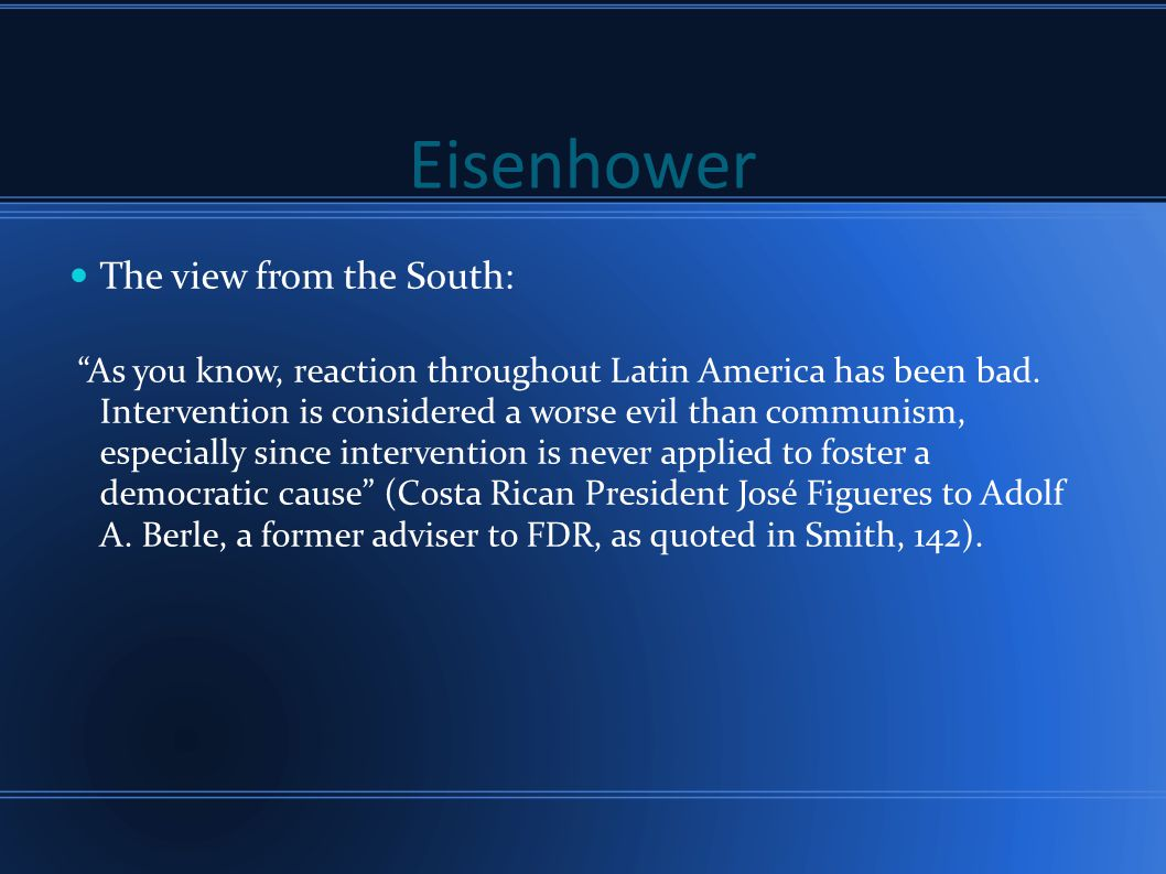 Eisenhower The view from the South:
