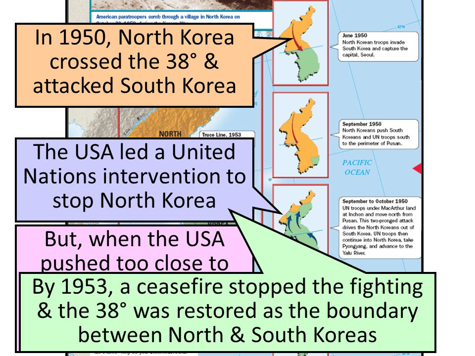 In 1950, North Korea crossed the 38° & attacked South Korea