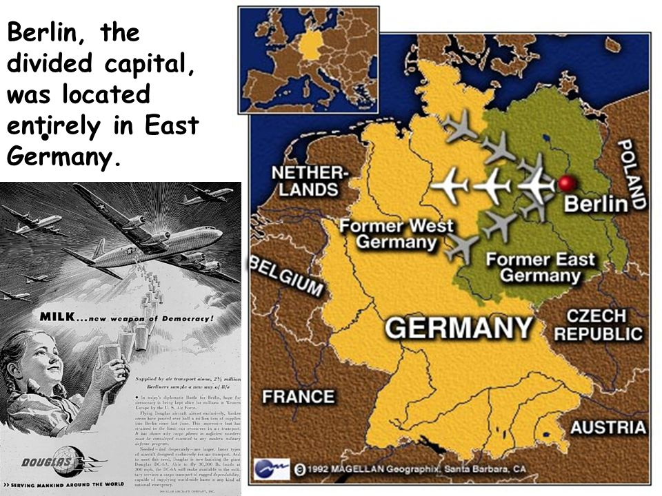 Berlin, the divided capital, was located entirely in East Germany.