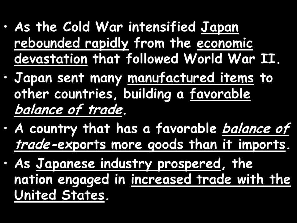 As the Cold War intensified Japan rebounded rapidly from the economic devastation that followed World War II.