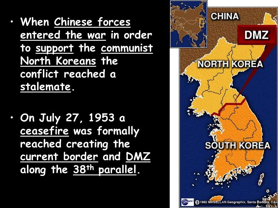 When Chinese forces entered the war in order to support the communist North Koreans the conflict reached a stalemate.