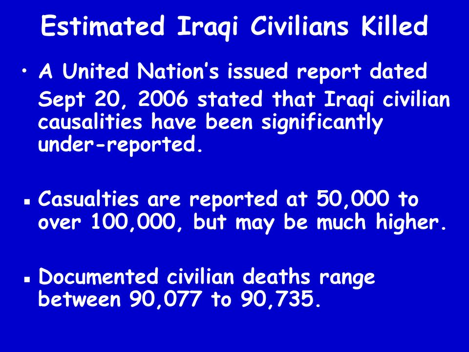 Estimated Iraqi Civilians Killed