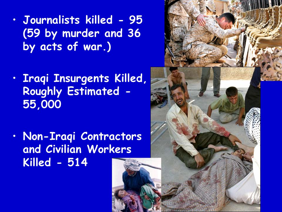 Journalists killed - 95 (59 by murder and 36 by acts of war.)