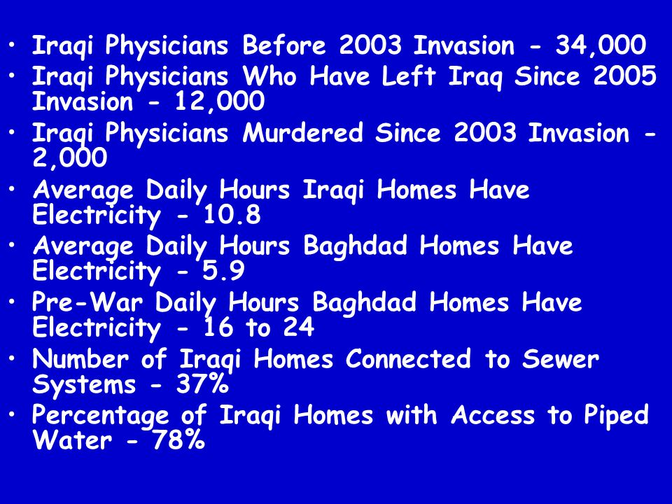 Iraqi Physicians Before 2003 Invasion - 34,000