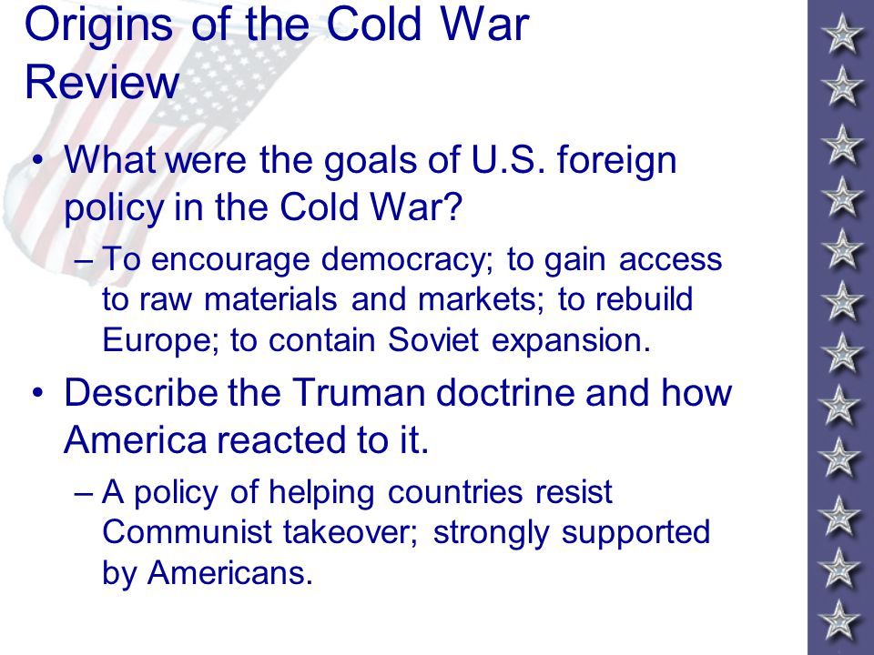 Origins of the Cold War Review