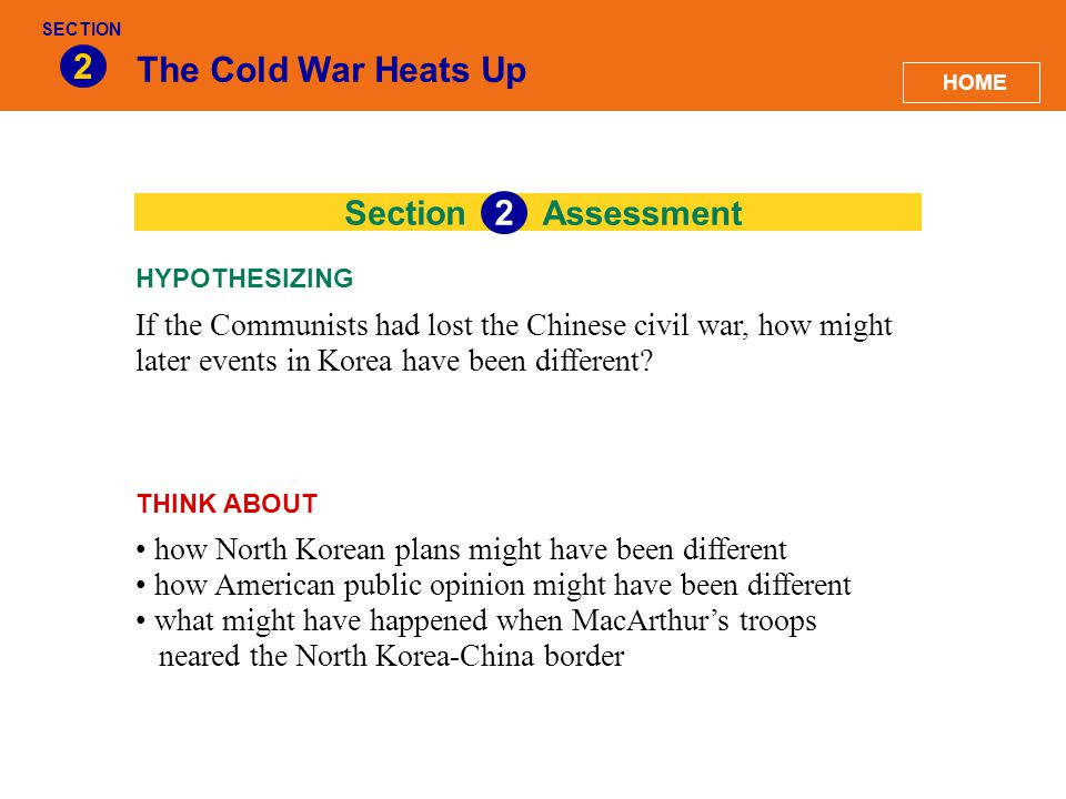 2 The Cold War Heats Up 2 Section Assessment