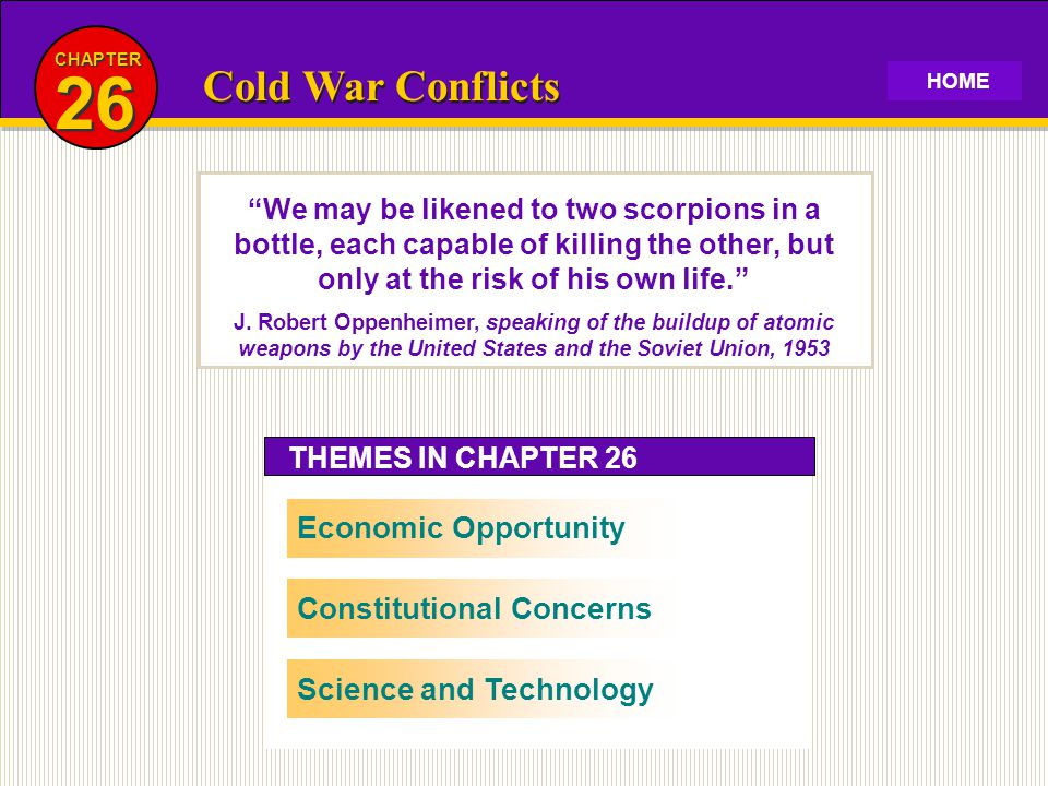 26 Cold War Conflicts Economic Opportunity Constitutional Concerns