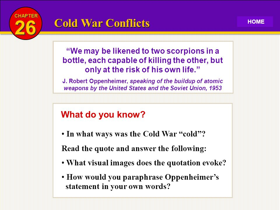 26 Cold War Conflicts What do you know