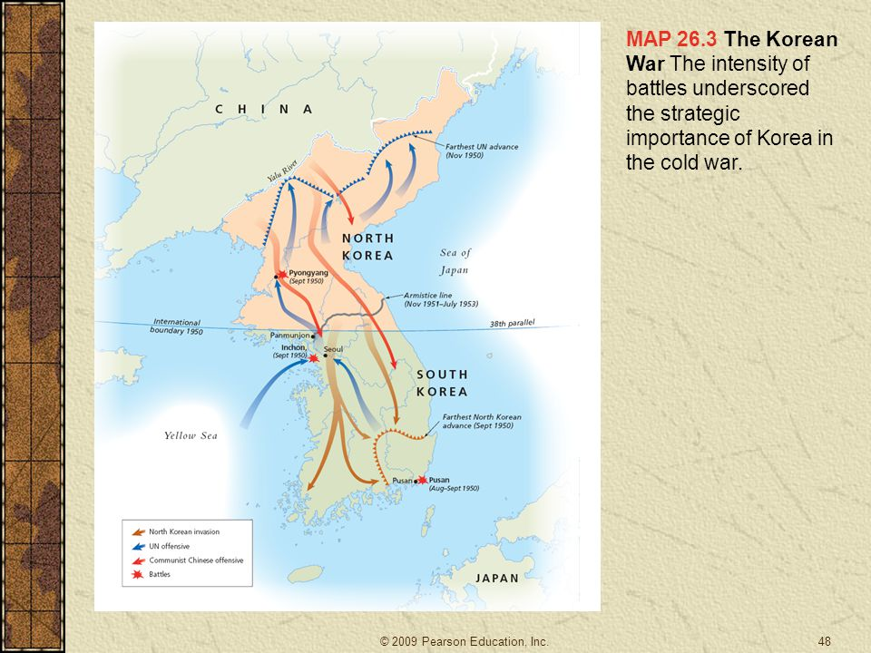 MAP 26.3 The Korean War The intensity of battles underscored the strategic importance of Korea in the cold war.