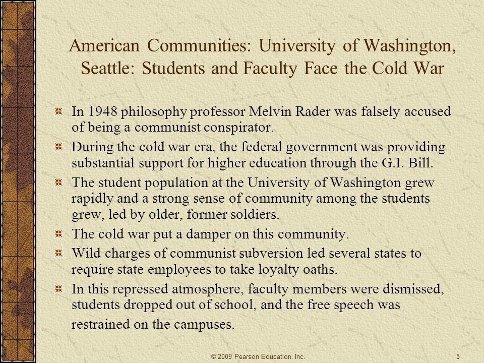 American Communities: University of Washington, Seattle: Students and Faculty Face the Cold War