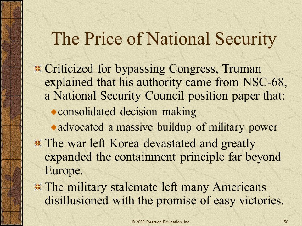 The Price of National Security