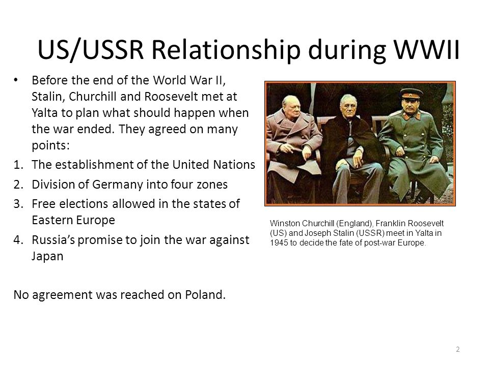 US/USSR Relationship during WWII