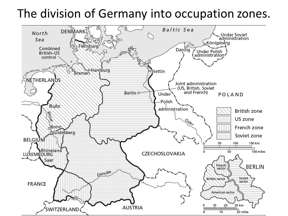 The division of Germany into occupation zones.