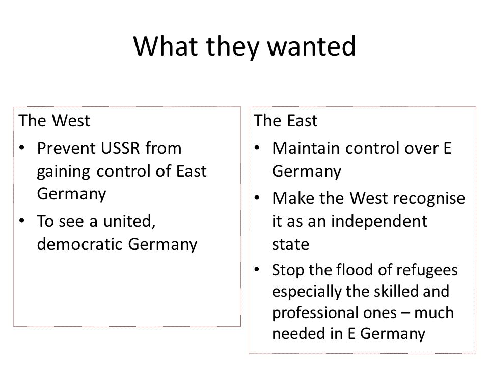 What they wanted The West