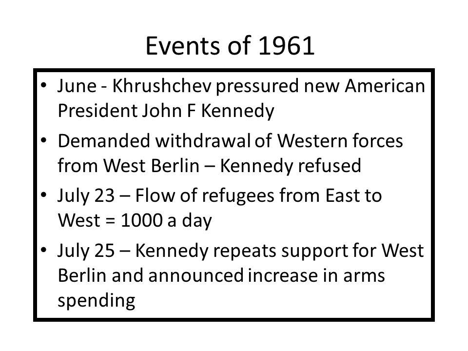 Events of 1961 June - Khrushchev pressured new American President John F Kennedy.