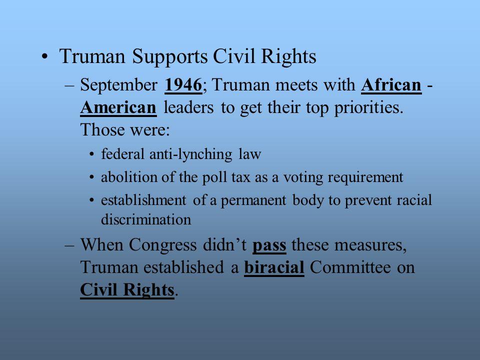 Truman Supports Civil Rights