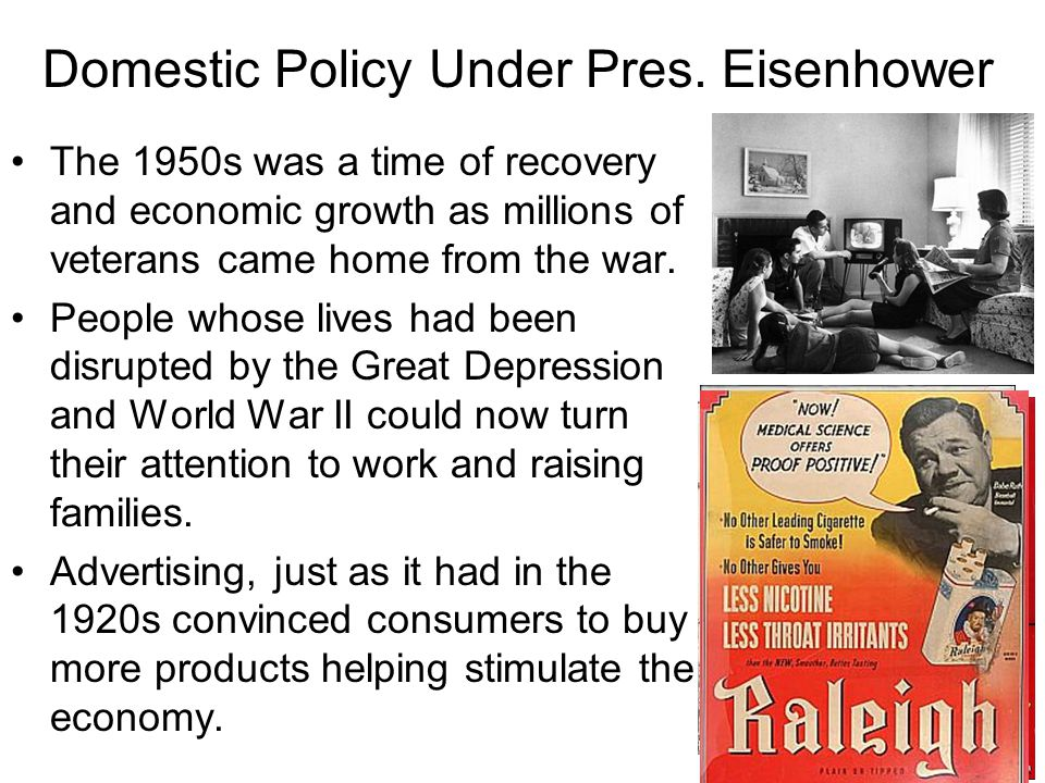 Domestic Policy Under Pres. Eisenhower