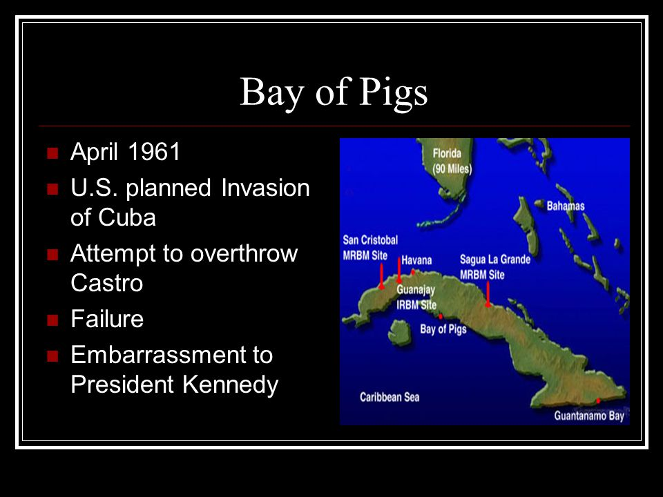 Bay of Pigs April 1961 U.S. planned Invasion of Cuba