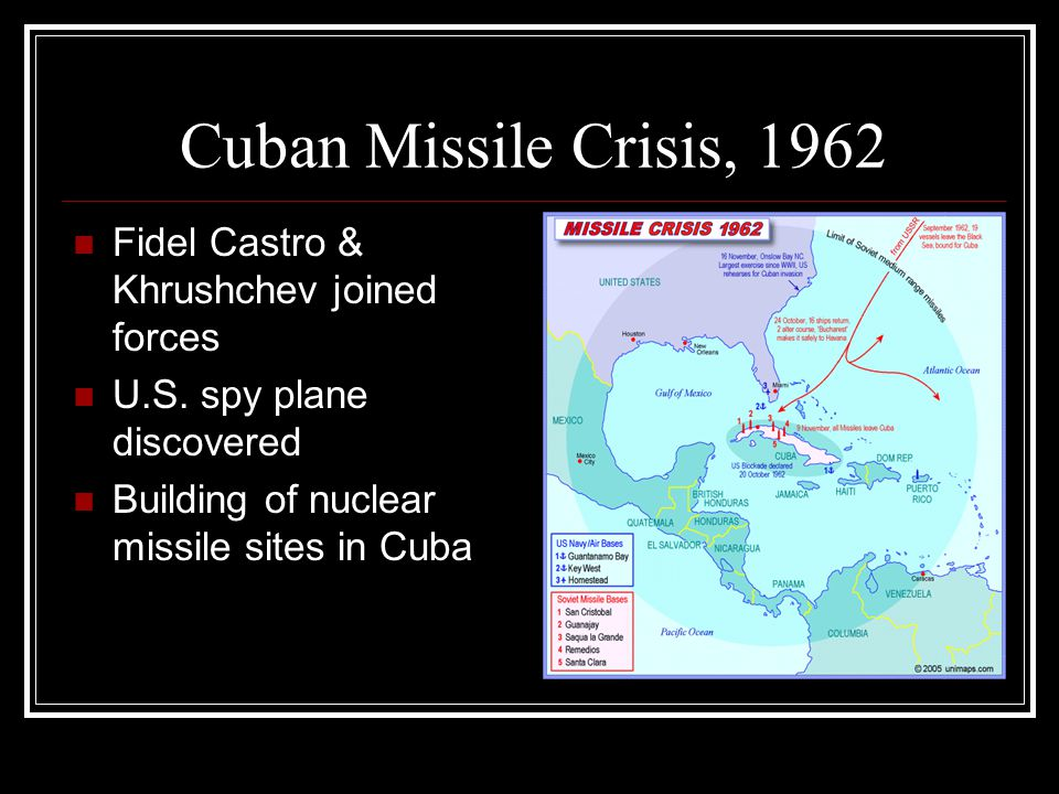 Cuban Missile Crisis, 1962 Fidel Castro & Khrushchev joined forces