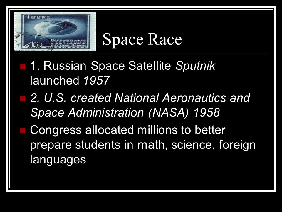 Space Race 1. Russian Space Satellite Sputnik launched 1957