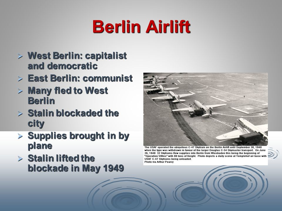 Berlin Airlift West Berlin: capitalist and democratic