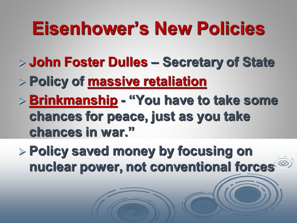 Eisenhower's New Policies