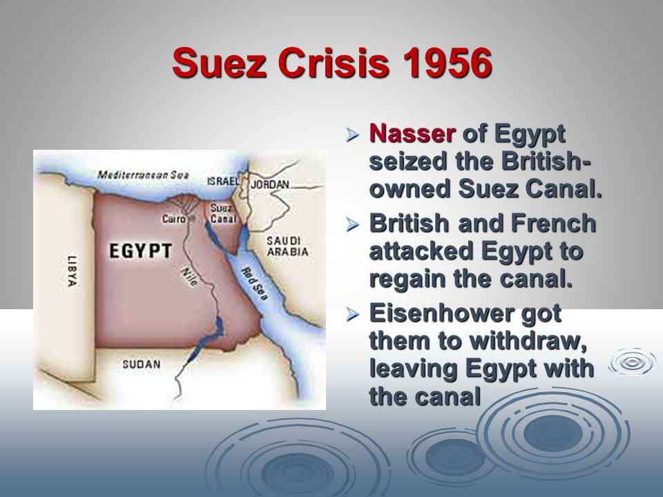 Suez Crisis 1956 Nasser of Egypt seized the British-owned Suez Canal.