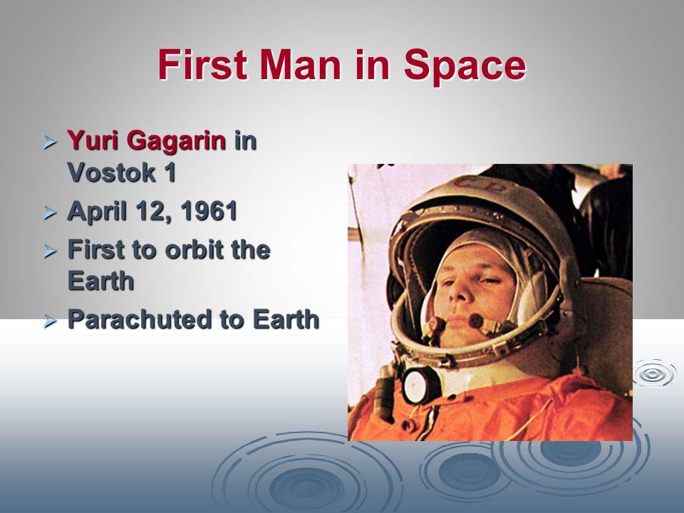 First Man in Space Yuri Gagarin in Vostok 1 April 12, 1961