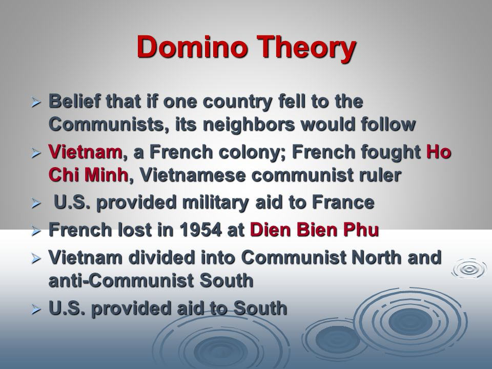 Domino Theory Belief that if one country fell to the Communists, its neighbors would follow.