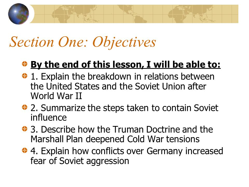 Section One: Objectives
